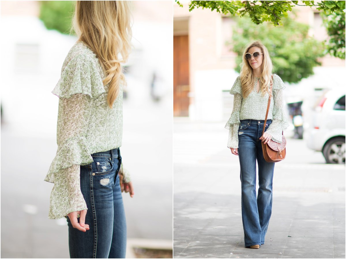 H&M mint floral print ruffle sleeve blouse, 7 for all mankind high waist bootcut jeans, bell sleeve blouse with flare jeans outfit, 70s inspired look