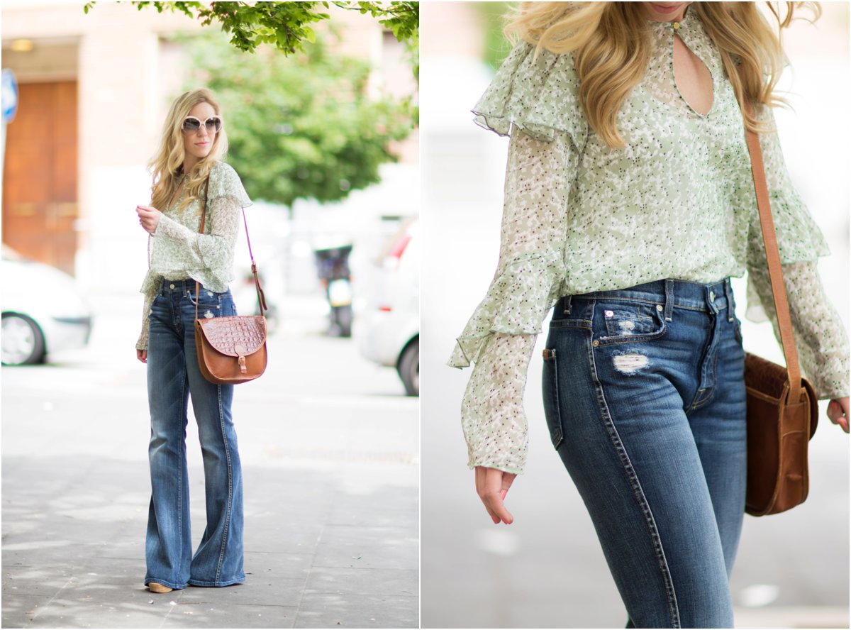 H&M mint floral ruffle sleeve blouse, 7 for all mankind high waist vintage bootcut jeans, Brahmin vintage saddlebag, flare jeans with saddlebag outfit