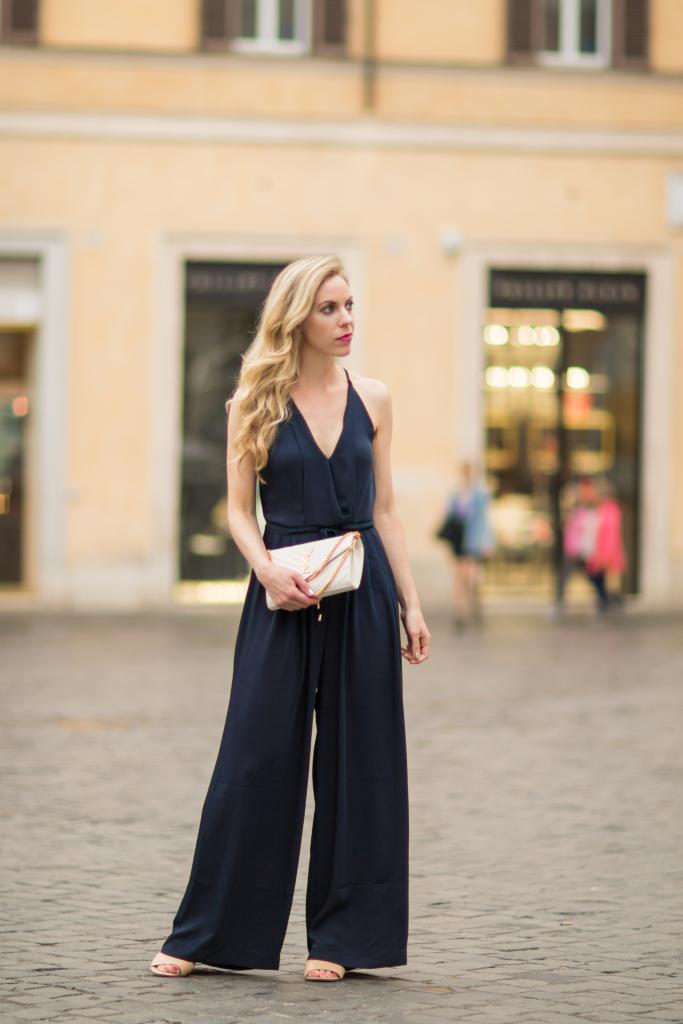 H&M navy blue halter jumpsuit, Saint Laurent white matelasse chain wallet, halter jumpsuit outfit