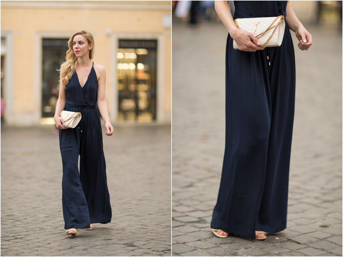 H&M navy blue jumpsuit, Saint Laurent white chain wallet handbag, YSL white envelope clutch, halter jumpsuit outfit