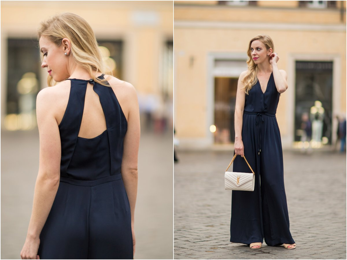 H&M navy blue satin halter jumpsuit, Saint Laurent white matelasse chain wallet, YSL white and gold envelope clutch
