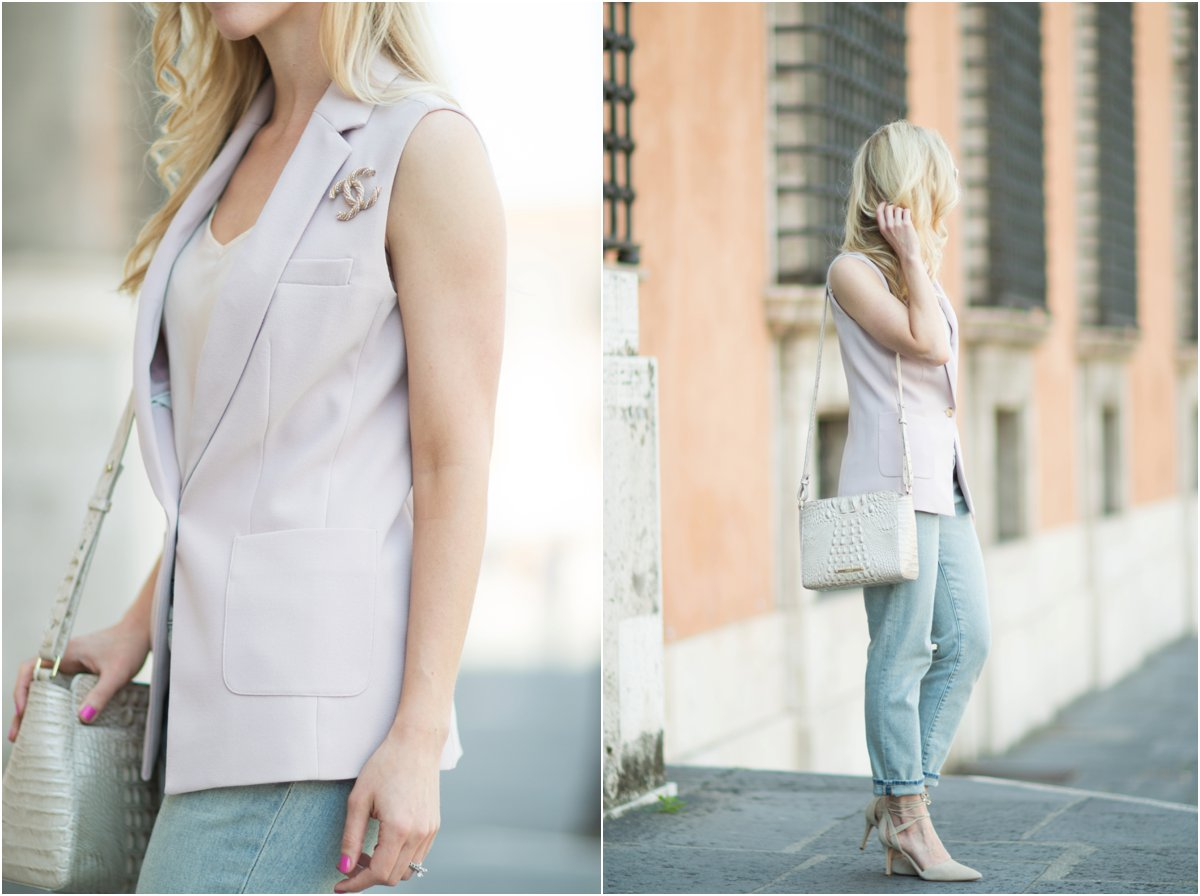 J. Crew sleeveless lilac vest, Chanel pin worn with a blazer, blazer with straight leg jeans and lace up heels, Brahmin, how to wear a sleeveless vest