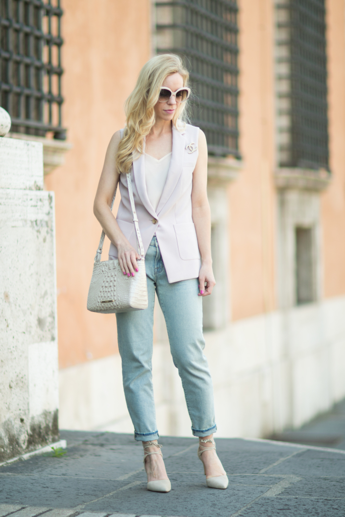 J. Crew sleeveless lilac vest with Chanel pin, sleeveless vest outfit, straight leg jeans with lace up heels, Brahmin 'Carrie' crossbody linen melbourne