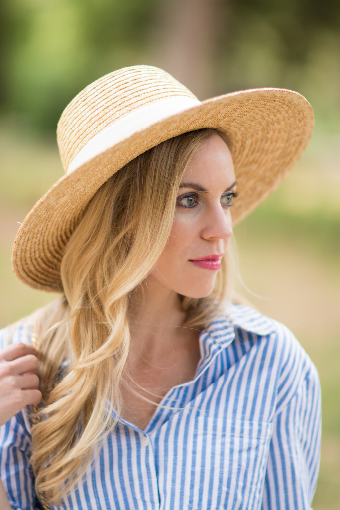 Blue Amp White Striped Shirt Dress Straw Boater Hat