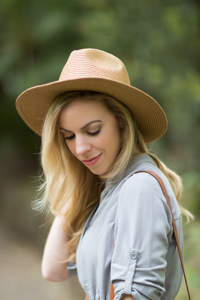 Madewell straw panama hat, Laura Geller Melon Infusion lipgloss, how to wear a shirt dress