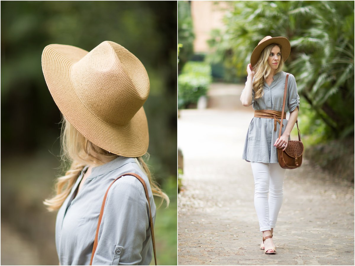 Madewell straw panama hat, gray shirt dress with leather wrap belt, AG jeans white legging ankle, how to wear a shirt dress as a top