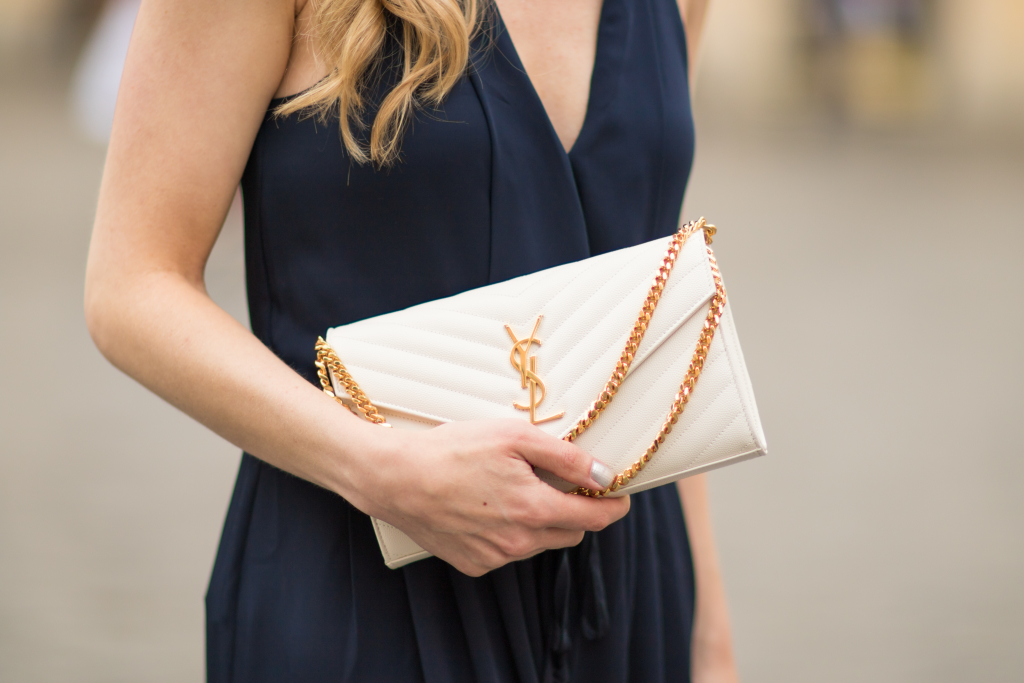 Saint Laurent white monogram clutch, YSL white leather matelasse chain wallet