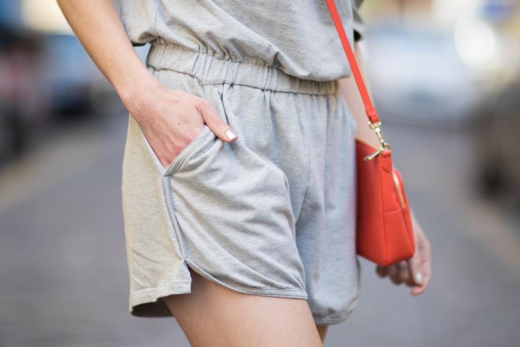 SheIn gray romper, orange Furla handbag