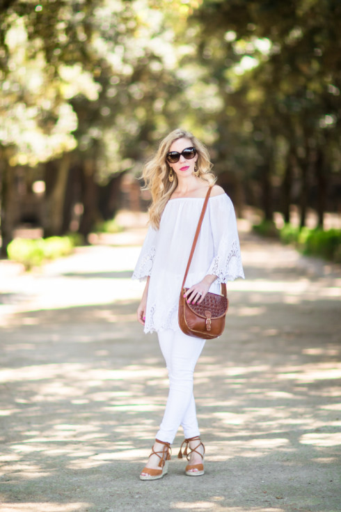 all white outfit for summer, eyelet off the shoudler top with white jeans, Brahmin vintage tan saddlebag, Joie 'Phoebe' espadrille wedges