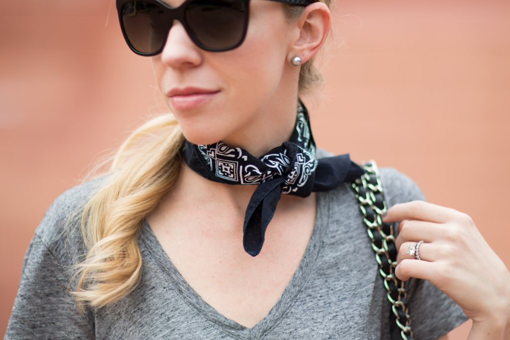 black bandana scarf, Chanel butterfly sunglasses with leather trim, how to wear bandana necktie scarf