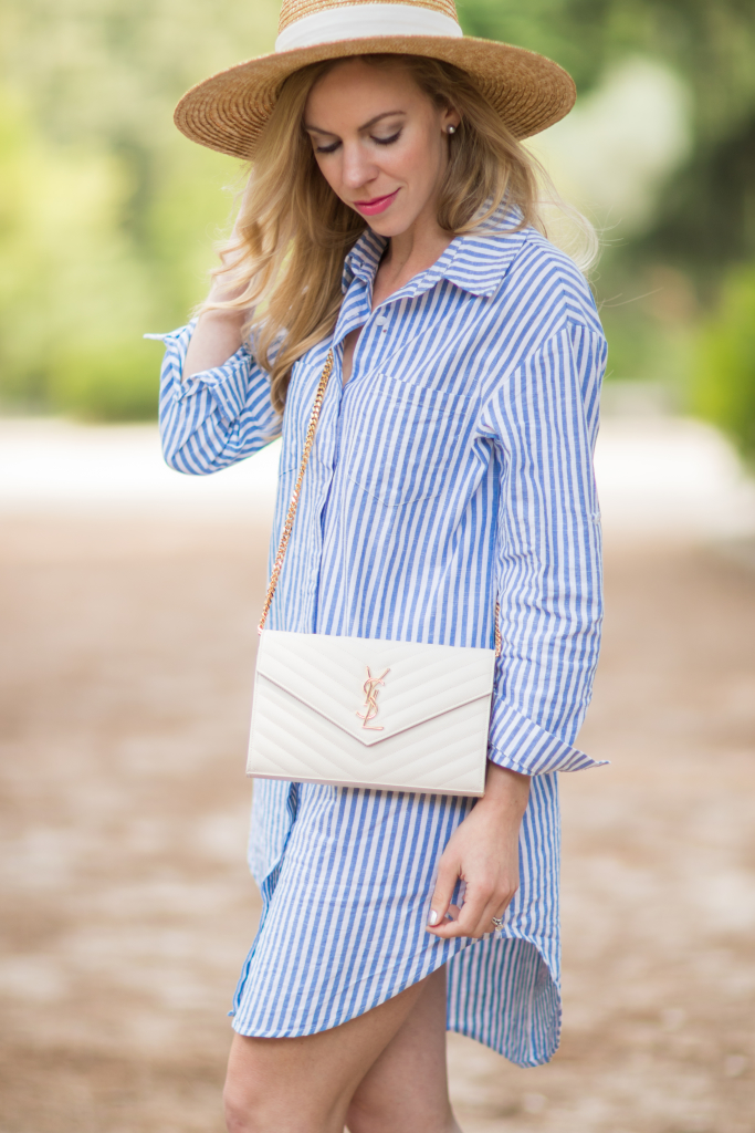 blue white striped shirt dress straw boater hat