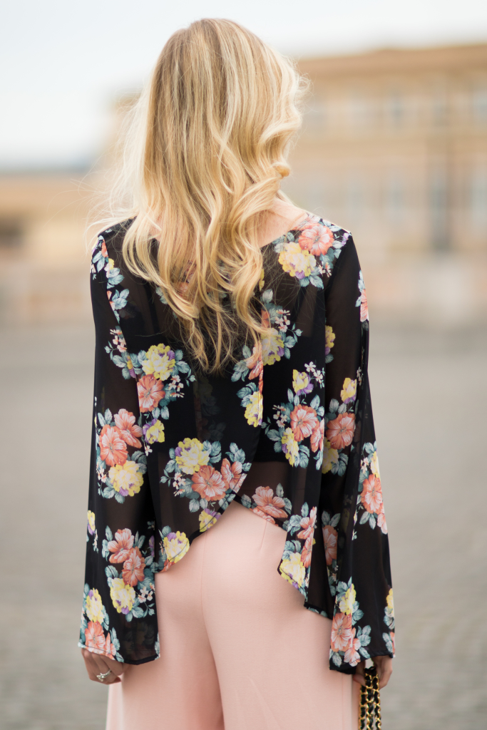 { Peachy Keen: Floral top, Pink culottes & Stiletto ...