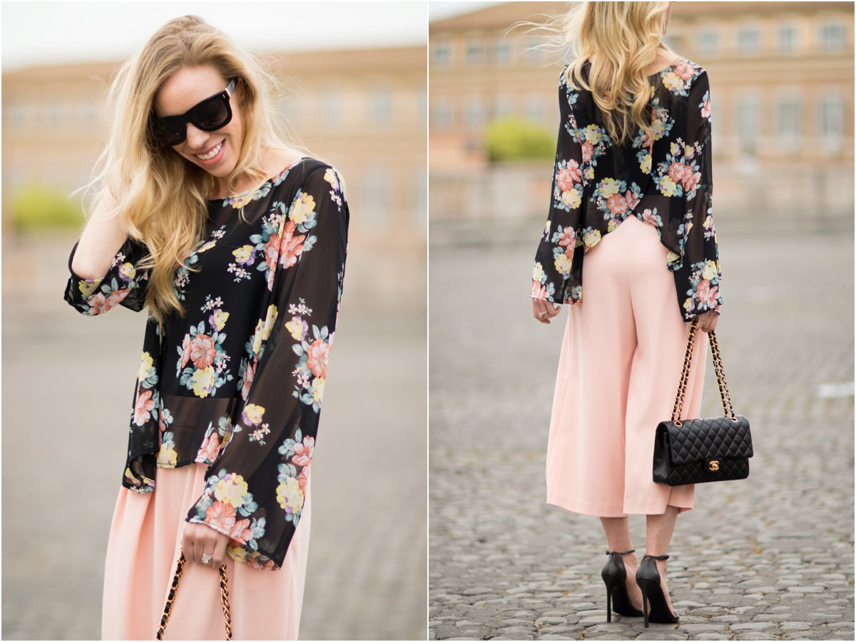 floral print bell sleeve top with culottes outfit, pink culottes outfit, Chanel medium classic flap bag black lambskin gold hardware