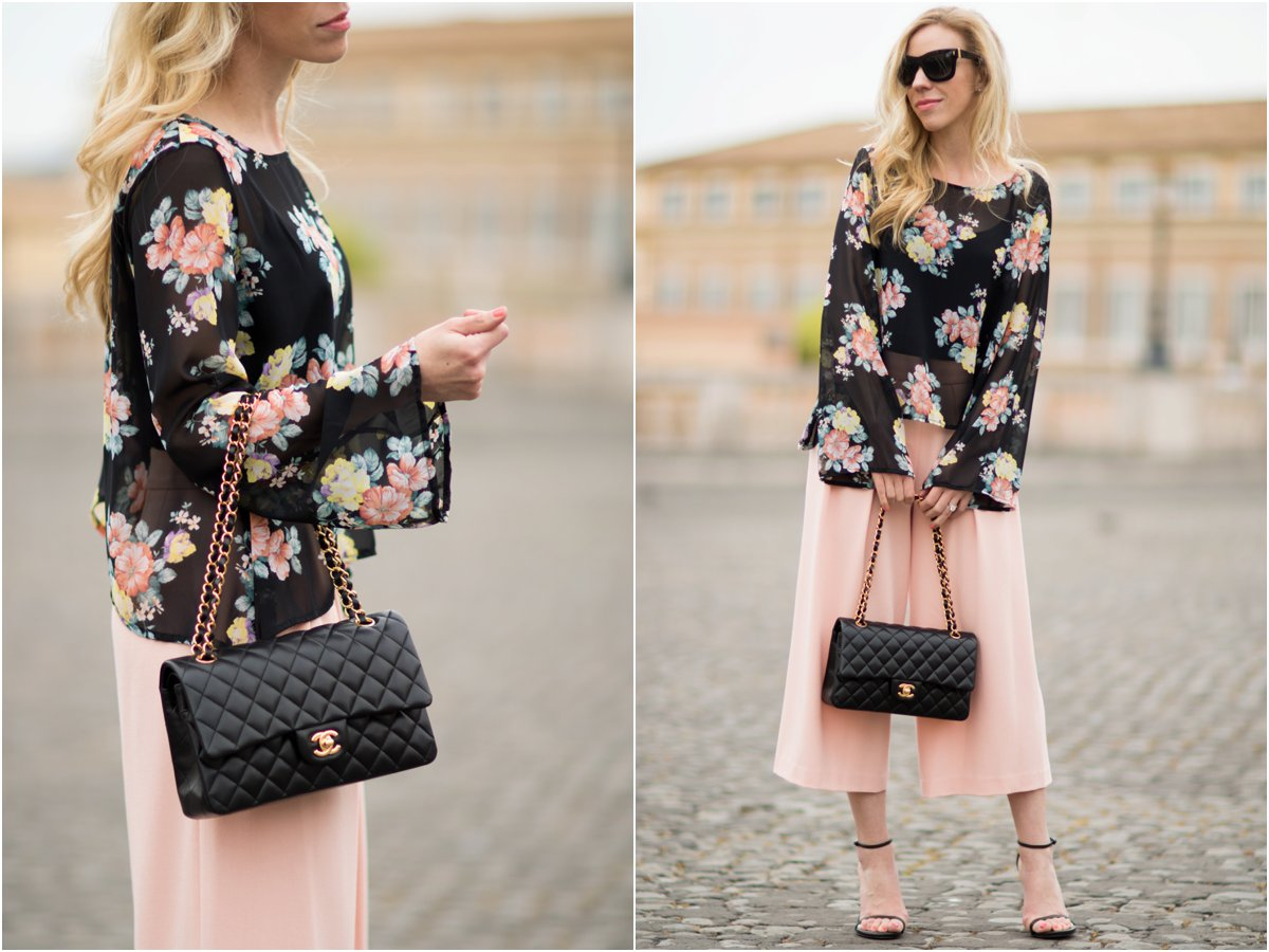floral print bell sleeve top with culottes, pink culottes outfit, Stuart Weitzman black Nudist sandals, Chanel medium classic black lambskin bag