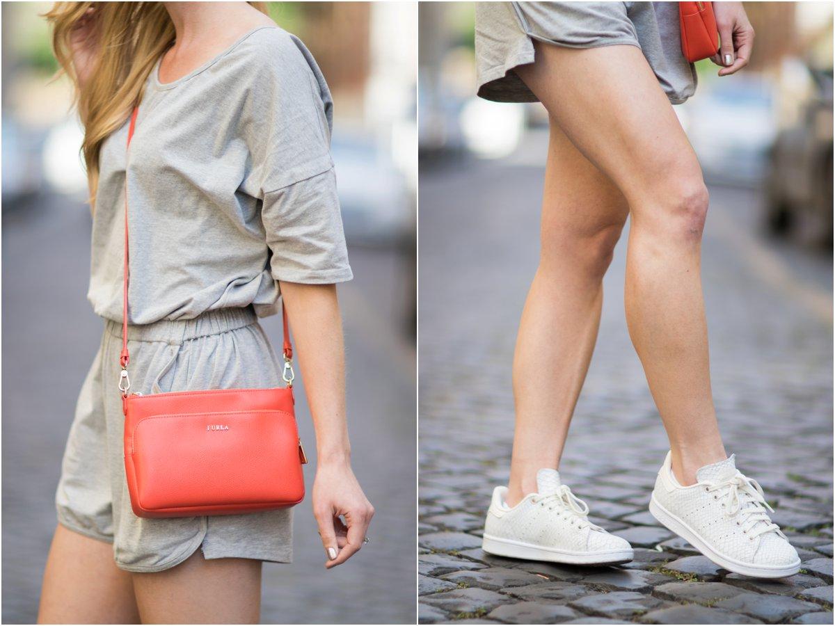 gray romper, Furla hibiscus orange crossbody bag, Adidas Stan Smith reptile snakeskin print sneakers, casual romper outfit