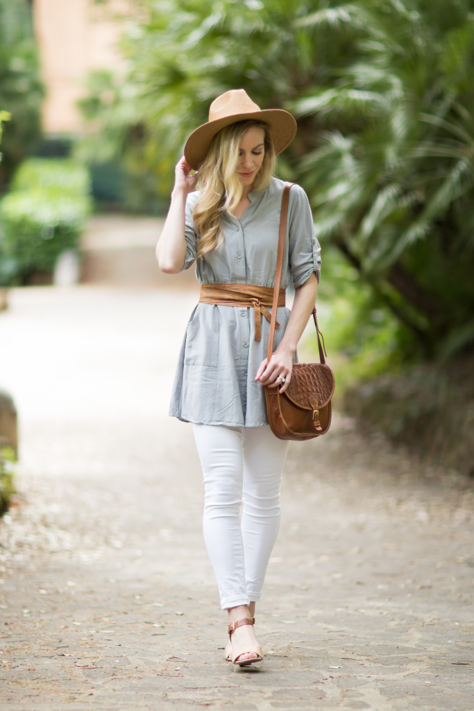 gray shirt dress, white skinny jeans, tan leather obi wrap belt, Madewell straw panama hat, how to wear a dress as a shirt