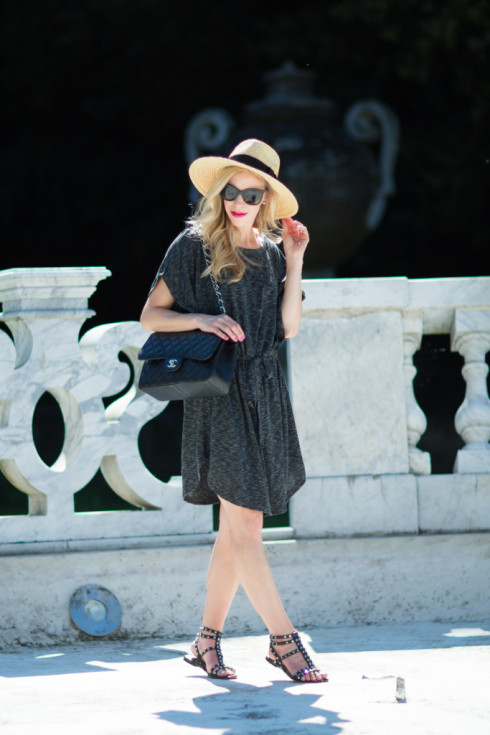 gray tie waist dress, Brixton 'Joanna' straw hat, Sam Edelman black studded gladiator sandals, Chanel Jumbo classic flap bag, how to wear black in the summer