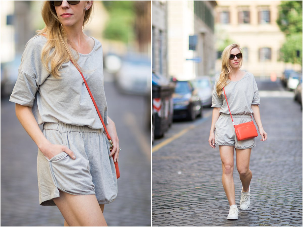 how to wear a romper with sneakers, gray romper with orange handbag, Furla orange crossbody bag, Stan Smith snakeskin print sneakers