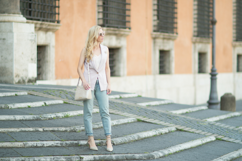 how to wear a sleeveless suit vest with jeans, sleeveless vest with jeans and lace up pumps, pastel blazer spring outfit, Brahmin 'Carrie' crossbody bag