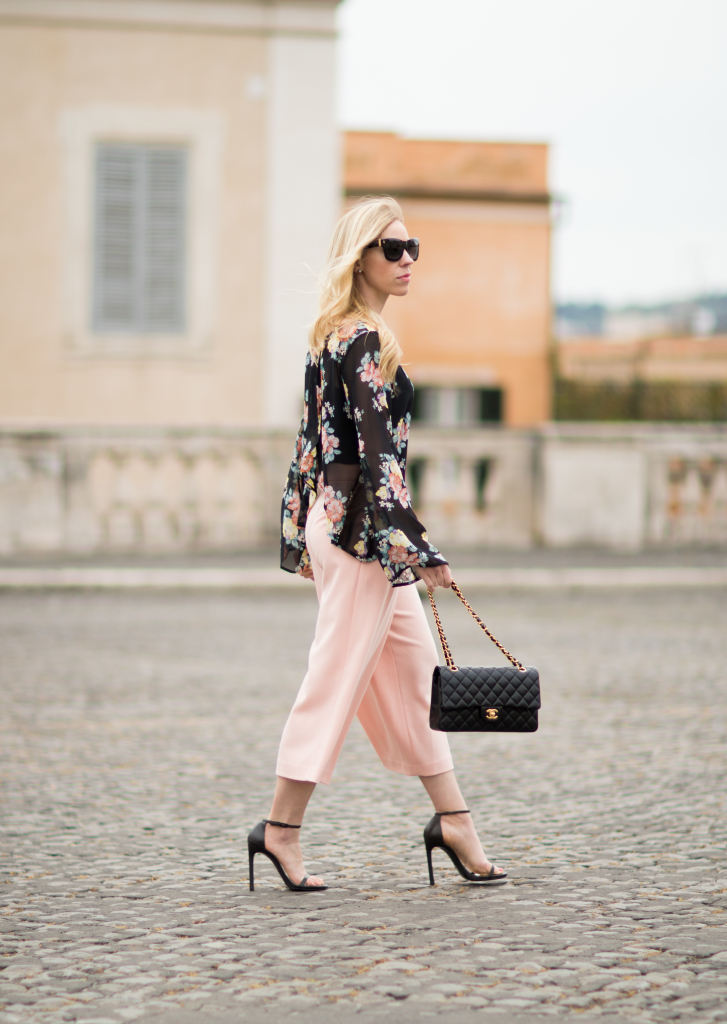 peach pink culotte pants, culottes with stiletto sandals, bell sleeve top and culottes outfit, Chanel medium classic flap bag black with gold hardware