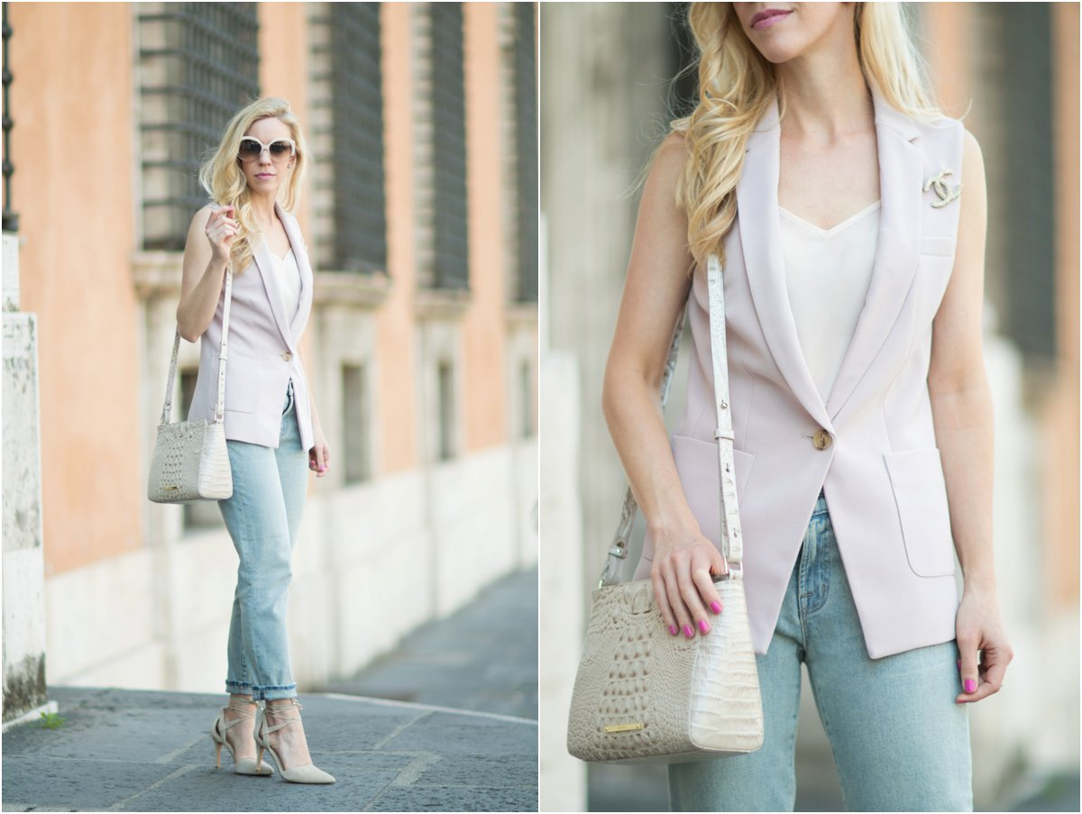 sleeveless vest with Chanel pin, how to wear a sleeveless vest with jeans and heels, Brahmin 'Carrie' crossbody bag Linen Melbourne