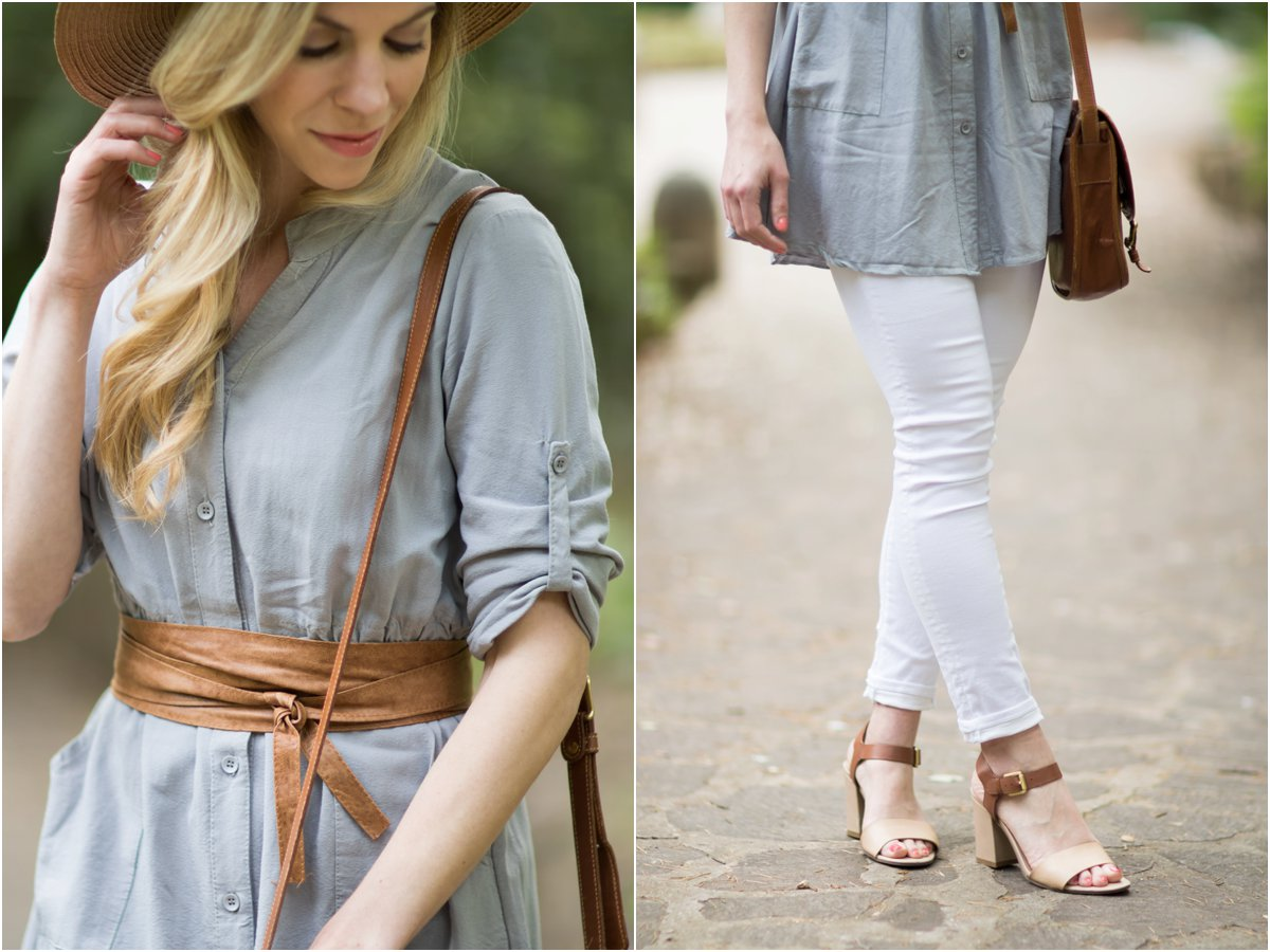 tan leather Obi wrap belt, how to tie a leather wrap belt, AG jeans legging ankle white denim, how to wear block heel sandals