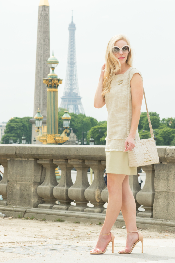 tweed dress with Chanel brooch pin, Brahmin 'Carrie' crossbody Linen Melbourne, tweed dress in Paris France, how to wear tweed modern fashion