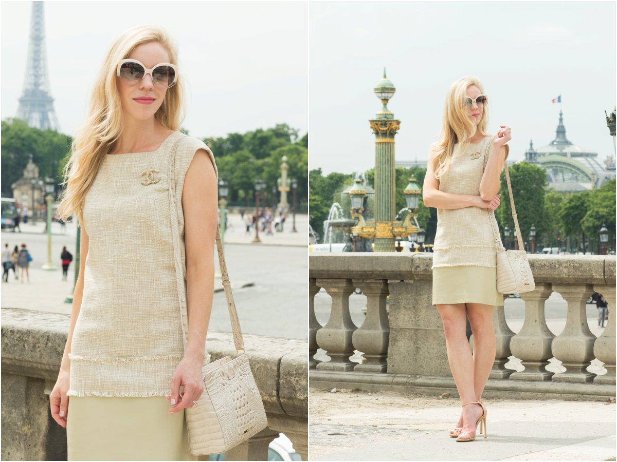 tweed dress with Chanel gold brooch pin, Brahmin 'Carrie' crossbody bag linen melbourne, how to wear tweed modern style, tweed dress in Paris