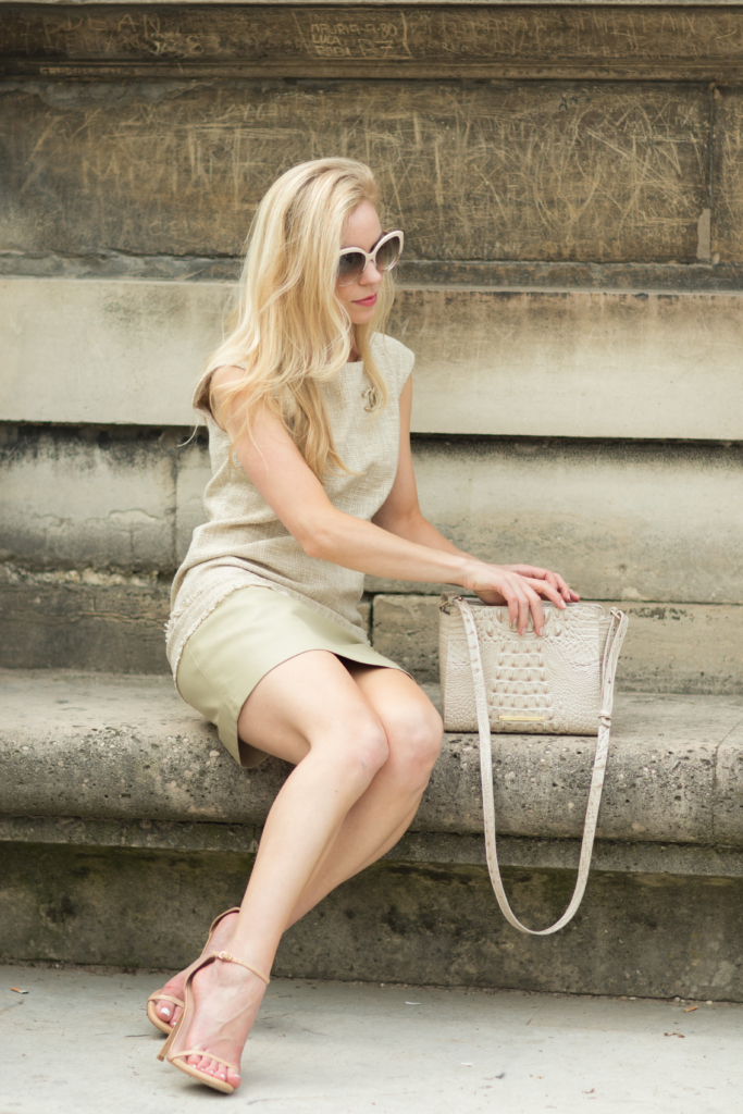 tweed dress with gold Chanel brooch pin, Stuart Weitzman nude adobe leather Nudist sandals, Brahmin 'Carrie' crossbody bag Linen Melbourne leather