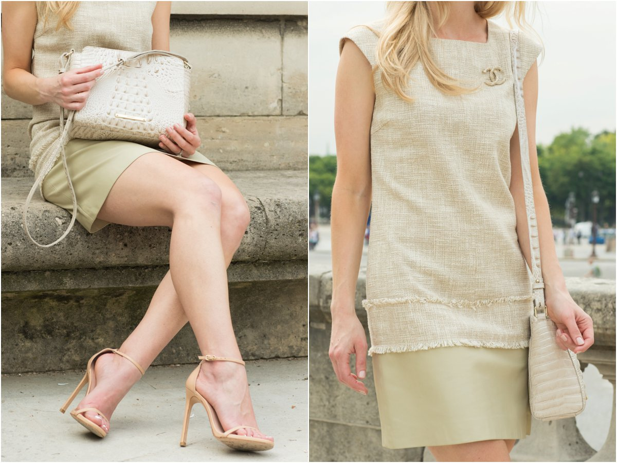 tweed dress with leather trim, Chanel brooch pin, Brahmin 'Carrie' crossbody bag, Stuart Weitzman 'Nudist' stiletto sandals adobe leather