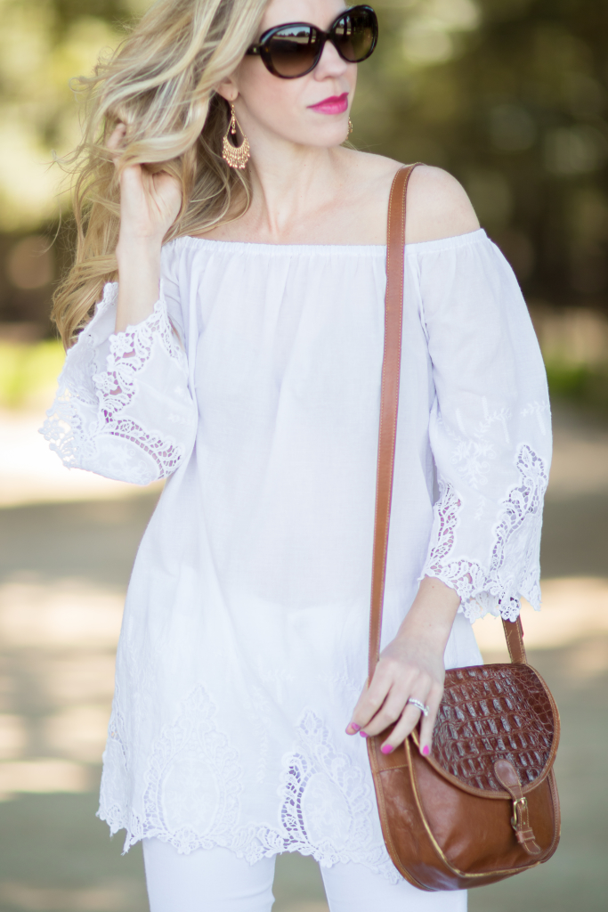 white eyelet off the shoulder top, Brahmin vintage tan saddle bag, how to wear all white for summer with eyelet lace