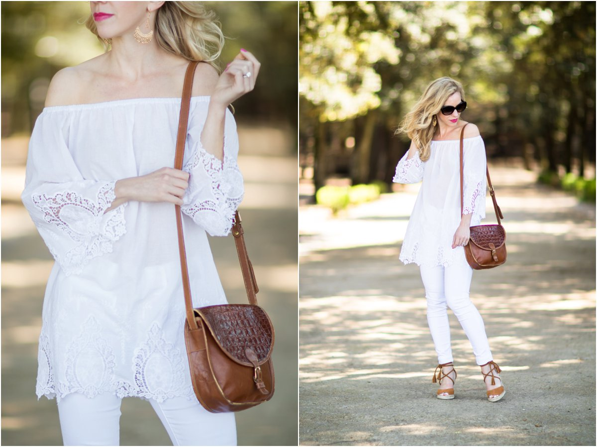 white eyelet off the shoulder top, Brahmin vintage tan saddlebag, how to wear all white for summer, Joie Phyllis tan wedges