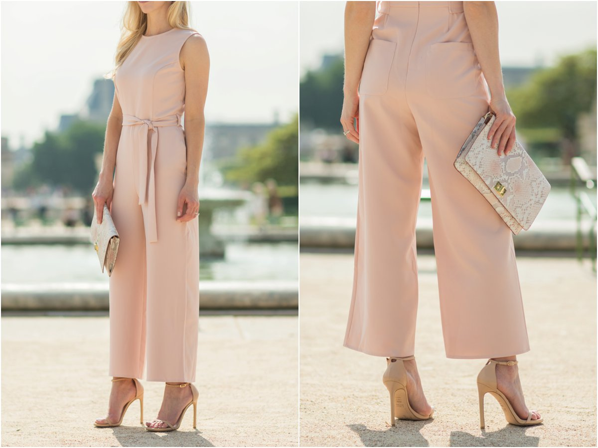 ASOS pink culotte jumpsuit, Stuart Weitzman 'Nudist' stiletto sandals adobe leather, Brahmin 'Lily' snakeskin clutch pink madera, pink culottes outfit