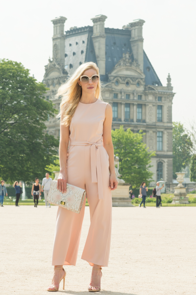 ASOS pink culotte jumpsuit with stiletto sandals, Brahmin 'Lily' snakeskin clutch, how to wear pink culottes, what to wear in Paris