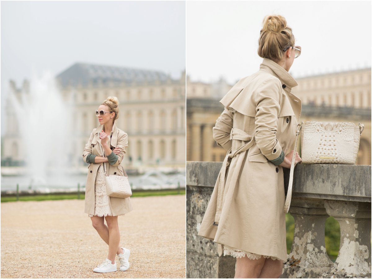 Ann Taylor classic khaki trench coat, trench coat with lace pencil skirt, trench coat and sneakers outfit, what to wear in Paris