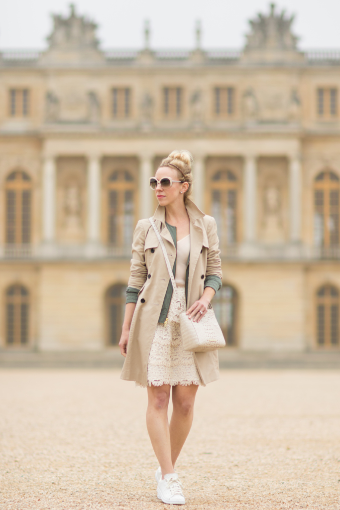 Ann Taylor khaki trench coat, how to layer with a trench coat and skirt, lace pencil skirt, Adidas 'Stan Smith' sneakers with skirt, Brahmin 'Carrie' crossbody bag