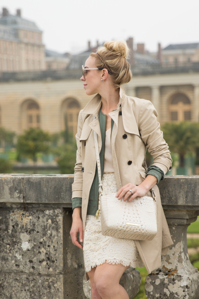 Ann Taylor khaki trench coat, layered outfit with trench coat and lace pencil skirt, Brahmin 'Carrie' linen melbourne