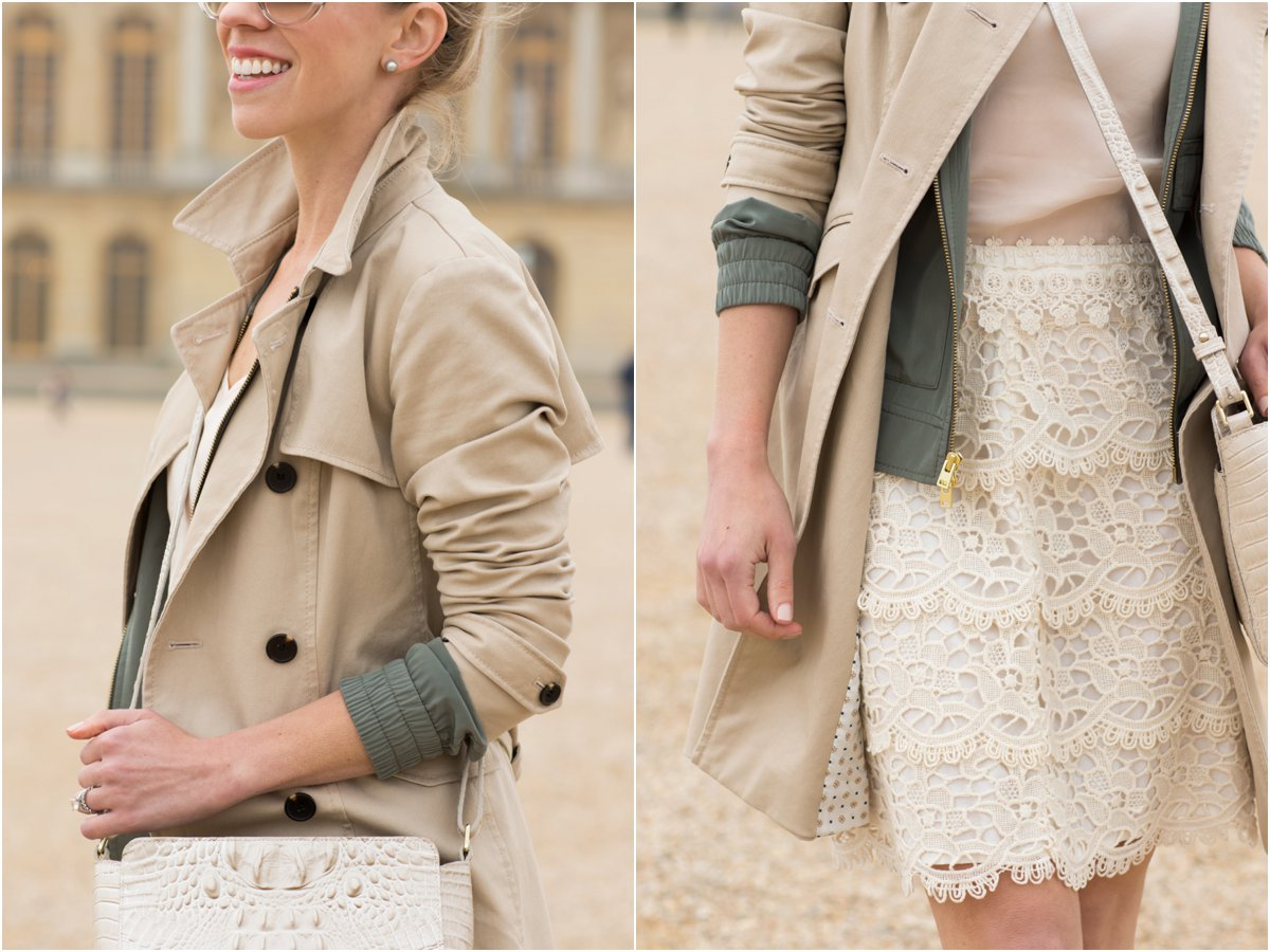Ann Taylor khaki trench coat, trench coat with popped collar, cream lace pencil skirt outfit, layered spring outfit with trench coat