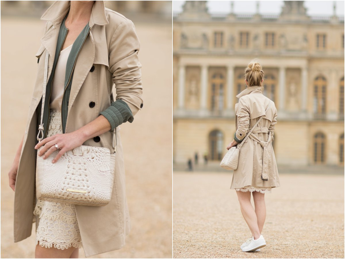 Brahmin 'Carrie' crossbody linen melbourne, how to layer underneath a trench coat, khaki trench coat with lace pencil skirt, what to wear in Paris France