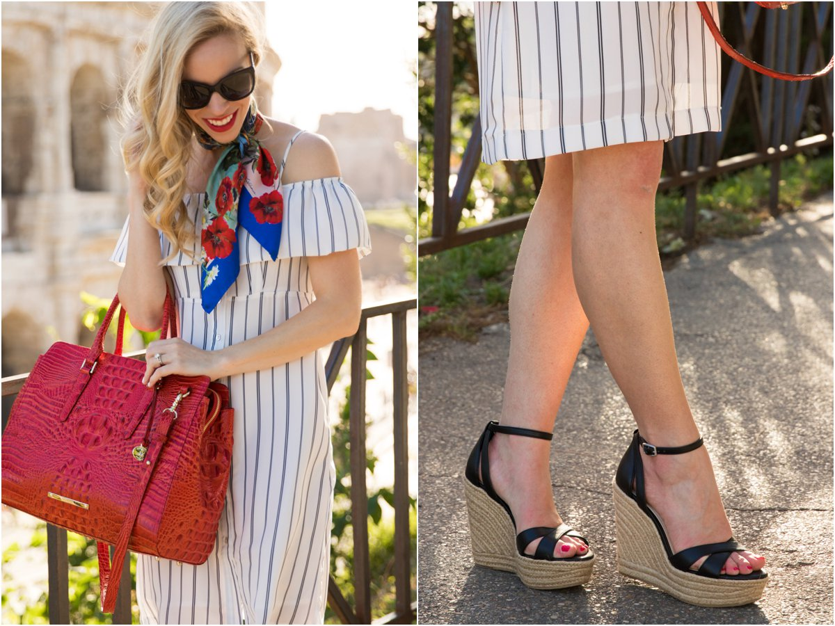 Brahmin 'Finley' carryall tote Cayenne Melbourne, BCBG 'Holly' wedge sandals, striped cold shoulder dress, Dolce & Gabbana postcards silk foulard, fashion in Rome Italy