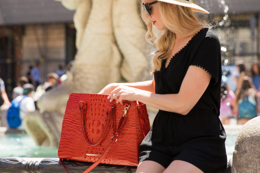 Brahmin 'Finley' carryall tote Cayenne Melbourne, LOFT black fringe trim romper, Italian fashion in Rome Italy, fashion blogger