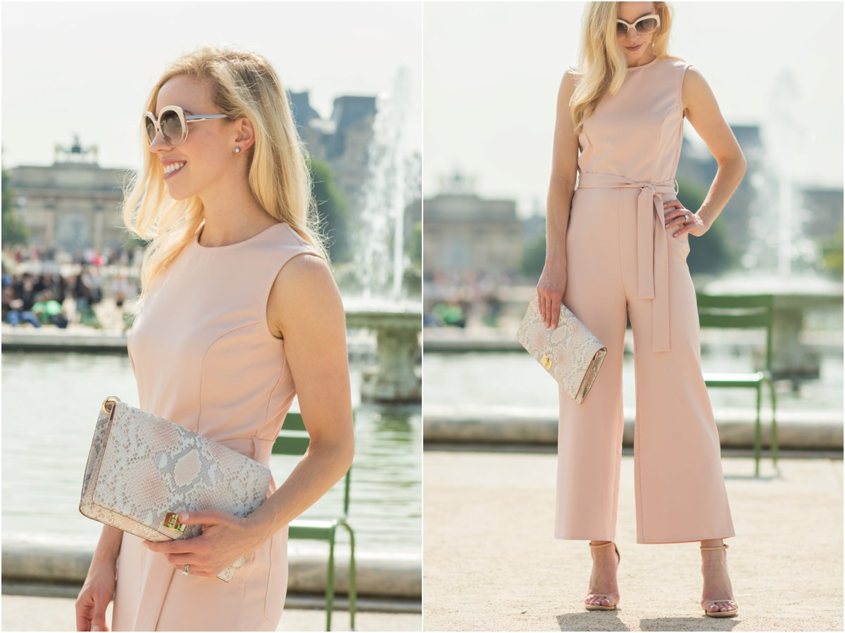 Brahmin 'Lily' snakeskin clutch pink madera, ASOS pink culotte jumpsuit, Stuart Weitzman 'Nudist' tan sandals, how to wear pink culottes for spring
