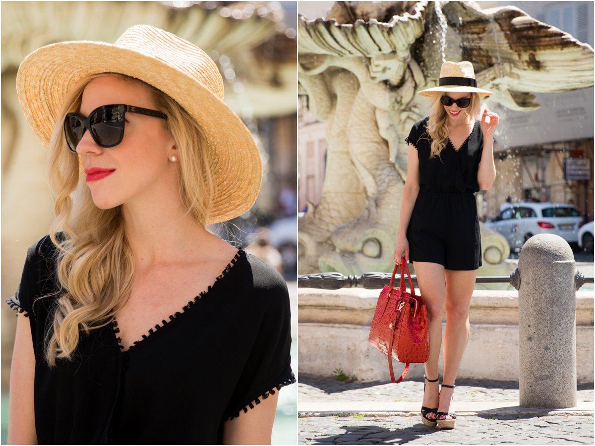 Brixton 'Joanna' panama hat, LOFT fringe trim romper, Brahmin 'Finley' carryall tote, black romper summer outfit