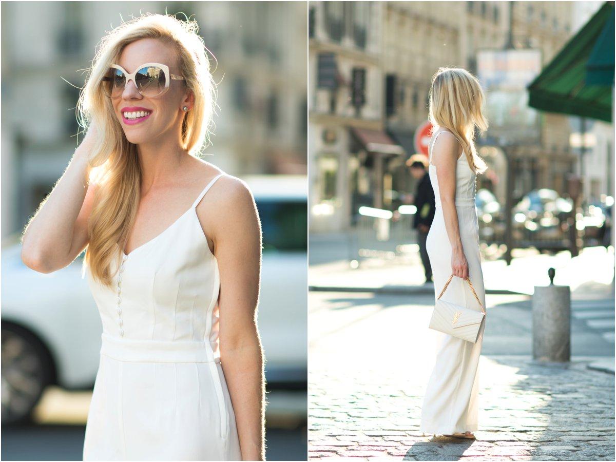 Dior Extase oversized beige sunglasses, H&M white jumpsuit, white wide leg jumpsuit, Saint Laurent white monogram chain wallet