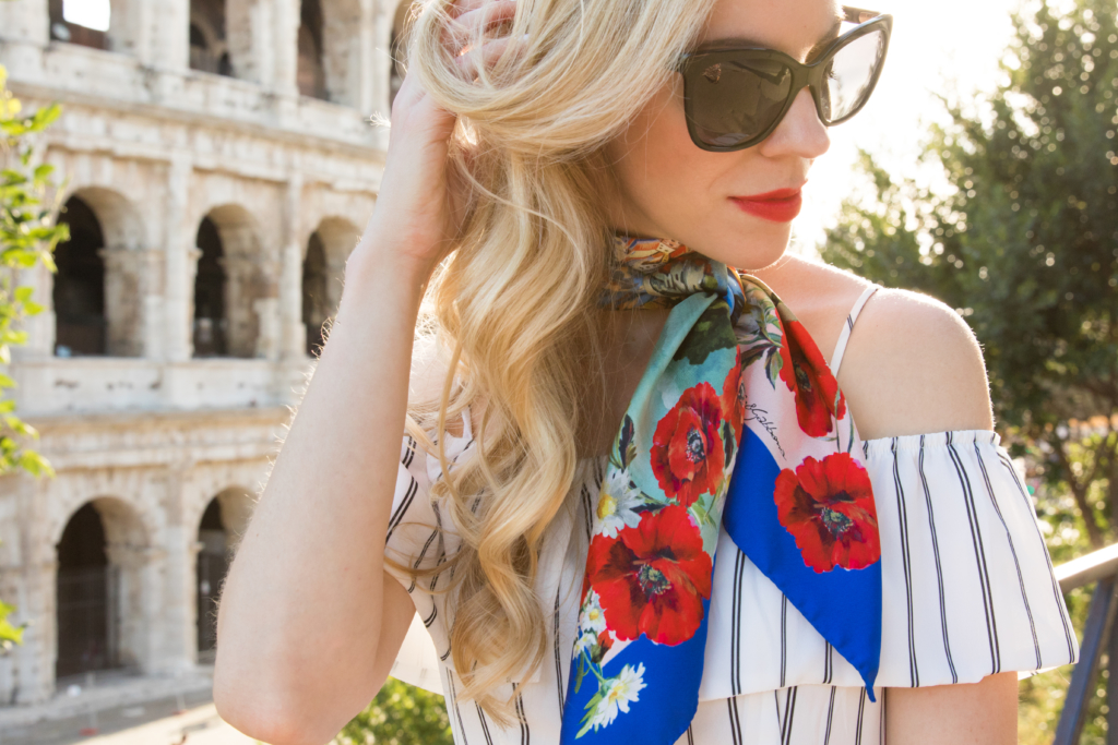 Dolce & Gabbana postcards from Italy silk scarf, Estee Lauder 'Envious' red lipstick, Chanel butterfly black sunglasses, how to tie a silk scarf, fashion in Rome Italy