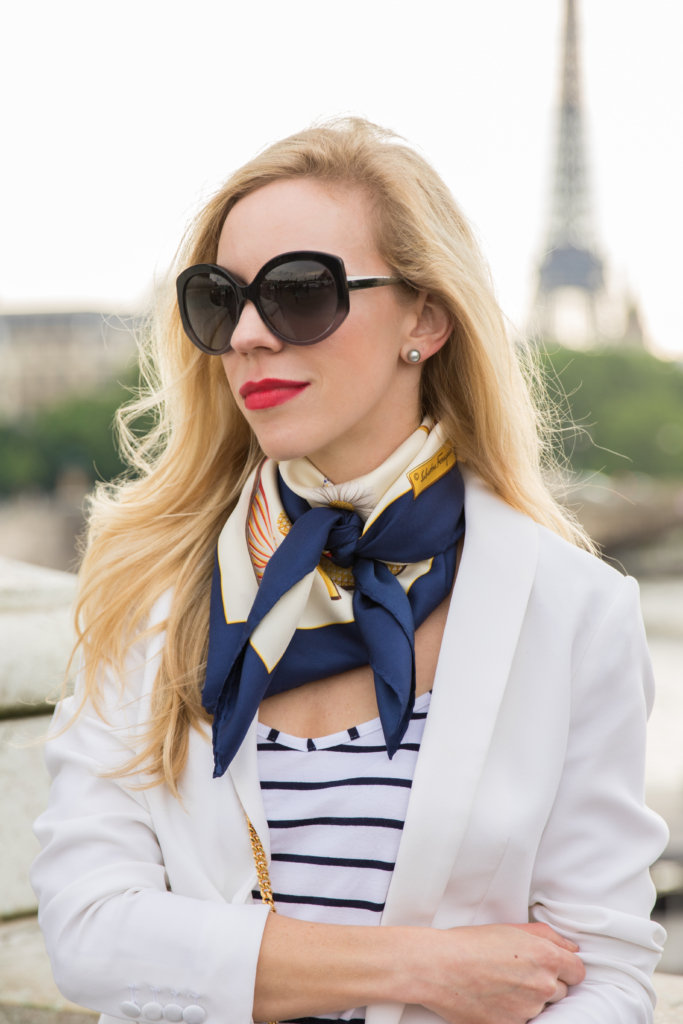 H&M white blazer with striped tank, Ferragamo navy silk scarf, how to tie a neck scarf, silk scarf with blazer outfit, French style silk scarf
