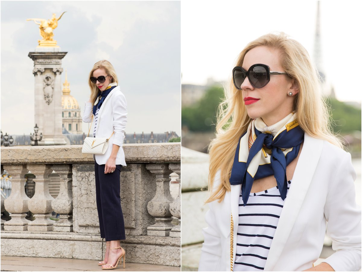 H&M white blazer with striped tank, Ferragamo silk scarf, how to tie a silk scarf, Parisian style outfit with silk scarf, white blazer with navy culottes outfit