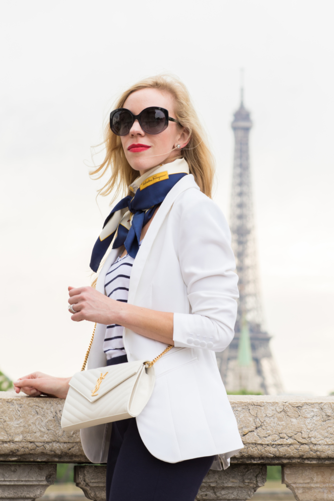 H&M white blazer with striped tank and silk scarf, Saint Laurent white monogram chain wallet clutch, Parisian inspired outfit with blazer and silk scarf