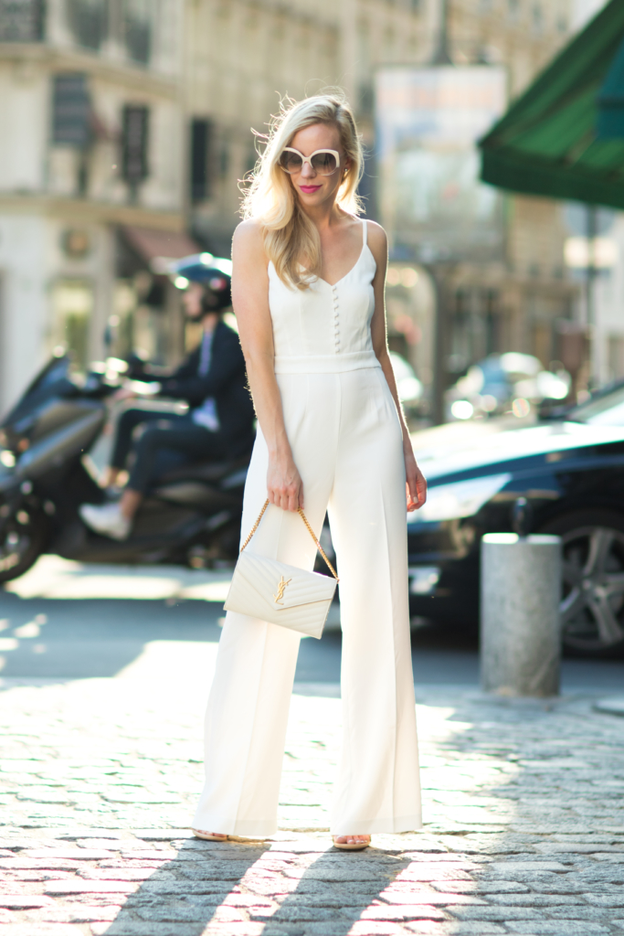 H&M white jumpsuit, wide leg jumpsuit outfit, YSL white matelasse chain wallet monogram clutch, how to wear wide leg jumpsuit