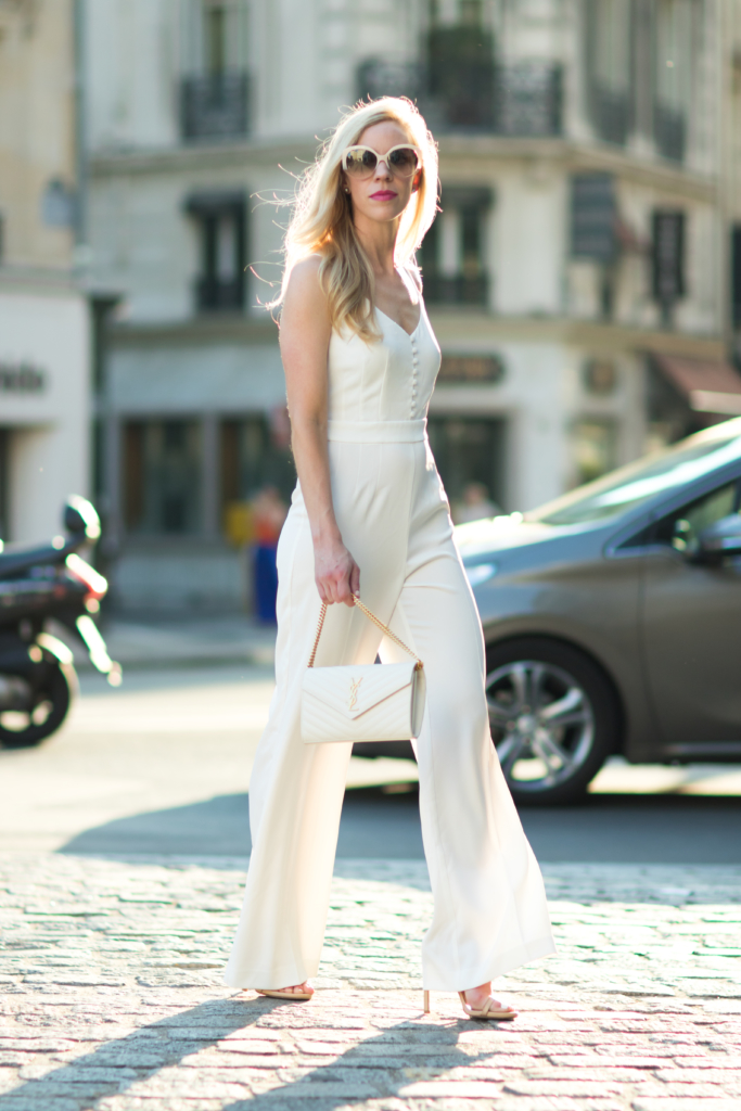 H&M white jumpsuit, wide leg jumpsuit with stiletto heels, YSL white monogram chain wallet, Saint Laurent white matelasse clutch